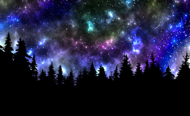 Night sky with stars and trees nature background