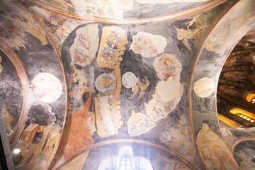 ISTANBUL, TURKEY - JANUARY 15, 2018: Interior and ancient mosaic in the Church of the Holy Saviour in Chora, or Kariye Camii