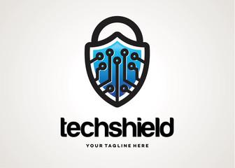 Tech Shield Logo Template Design Vector, Emblem, Design Concept, Creative Symbol, Icon