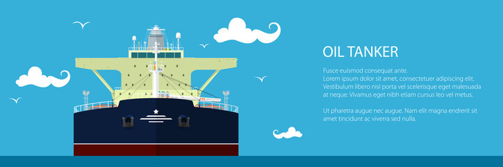 Front View of the Oil Tanker , Banner of International Freight Transportation, Vessel for the Transportation of Liquid Goods and Text, Vector Illustration