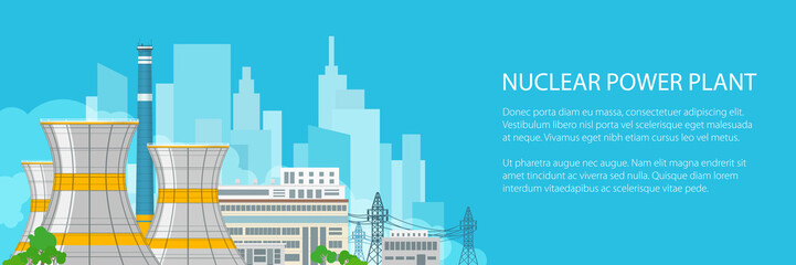 Banner of Electric Transmission from a Nuclear Power Plant, Thermal Power Station on the Background of the City and Text, Vector Illustration