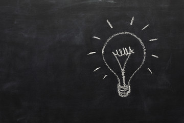Lightbulb drawn with chalk on blackboard