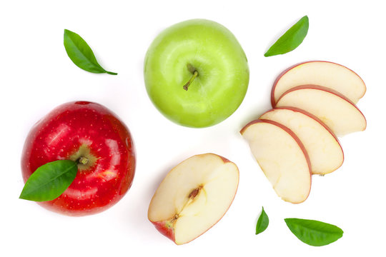 red and green apples with slices and leaves isolated on white background top view. Set or collection. Flat lay pattern