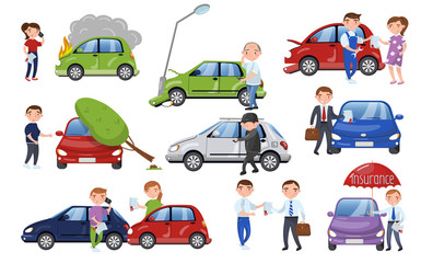 Car crash and accident set, car insurance cartoon vector Illustration