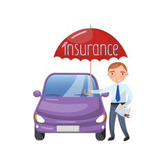 Insurance agent standing with umbrella protecting car, auto insurance concept cartoon vector Illustration