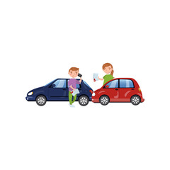 Two cars involved in a car wreck, auto insurance concept cartoon vector Illustration