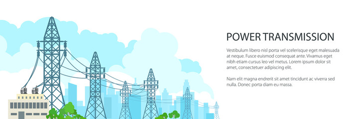 White Banner of Electric Power Transmission, High Voltage Power Lines Supplies Electricity to the City and Text, Vector Illustration