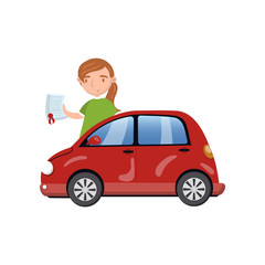 Woman standing behind of red car and showing paper document, car insurance concept cartoon vector Illustration