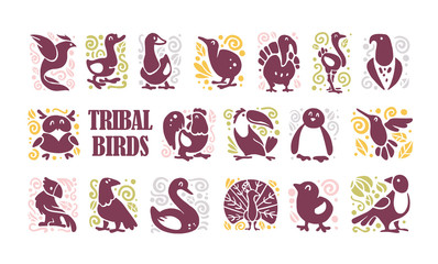 Vector collection of flat cute tribal bird icons & ornament isolated on white background. Exotic bird silhouette, domestic farm, forest, northern & tropic. Good for logo template, web design, pattern.