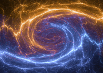 Fire and ice fractal lightning bolt, electrical background