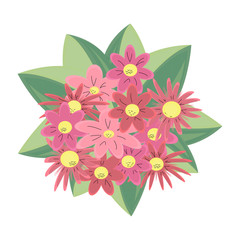 A beautiful pattern with flowers in flat cartoon style. Vector traditional floral bouquet. Great for fashion, cards, invitations; a retro ornament