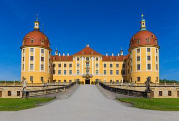 "Castle Moritzburg near Dresden in Saxony, Germany. Filming location for the czech fairytale film ""Three hazelnuts for Cinderella"""