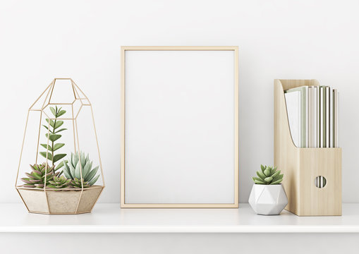 Home interior poster mock up with horizontal gold metal frame and succulents on white wall background. 3D rendering.