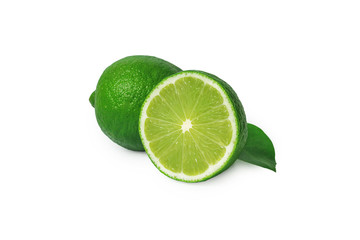 Isolated limes. Sliced lime fruits isolated on white background