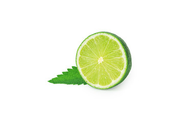 Isolated lime. Sliced lime fruit isolated on white background