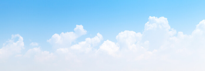 Poster Heaven White cumulus clouds formation in blue sky