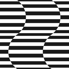 Black and white stripes vector seamless pattern. Wavy shapes. Trendy design