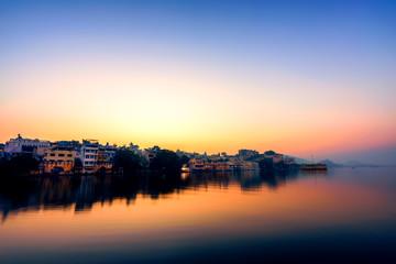 low light scenery of lake Pichola at sunrise,Udaipur, India