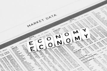 Economy symbol on financial paper
