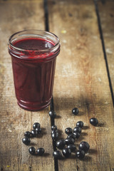 berries of black currant and jam