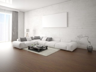 Mock up a large bright living room with a large corner sofa and hipster background.
