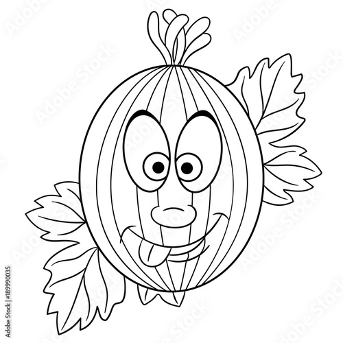 Coloring Page Cartoon Gooseberry Happy Fruit Character Eco Food Symbol Design Element