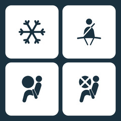 Vector Illustration Set Car Dashboard Icons. Elements Snow, Seat belt, Airbag, and Airbag icon