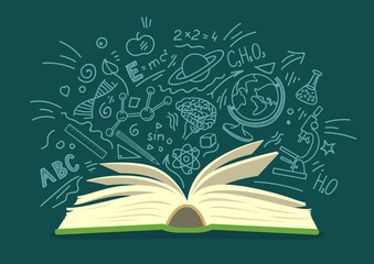 Open book with education, science hand drawn doodles on teal background. Education vector illustration.