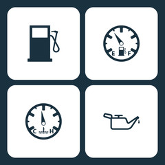 Vector Illustration Set Car Dashboard Icons. Elements Gas station, Low fuel, temperature, and Oil icon