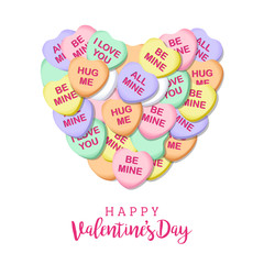 Happy Valentines Day Candy Hearts Square Vector Illustration 1