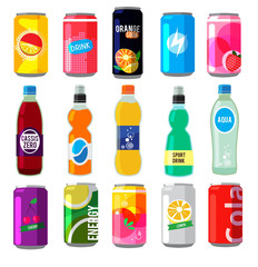 Fizzy drinks in glass bottles. Colored vector pictures