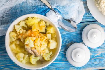 Fresh cauliflower soup.