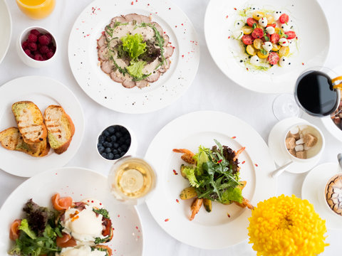 Balanced fancy restaurant dinner menu. Wholesome eating. Fitness lifestyle concept