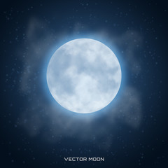 Vector realistic beautiful moon with glow effect and clouds on cosmic background.