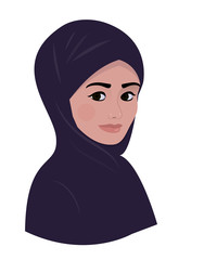 Portrait of arab muslim beautiful woman in dark violet hijab scarf.