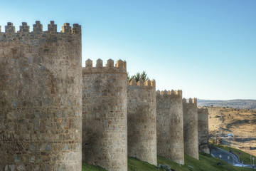 Medieval town walls surround in ancient city of Avila, Spain
