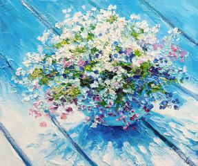 Obraz olejny na płótnie, martwa natura kwiatów, grafika impresjonizmu