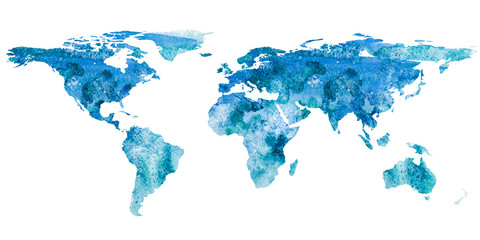 2d hand drawn illustration of world map. Turquoise blue watercolor isolated earth planet. Continents. White background.