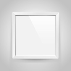 Realistic empty rectangular white frame with on gray background, border for your creative project, mock-up sample, vector design object