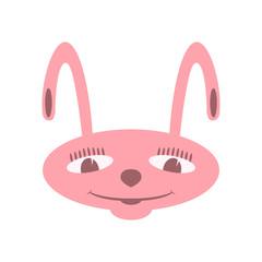 rabbit face cartoon vector illustration flat style front