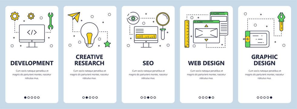 Vector modern thin line web development concept banners