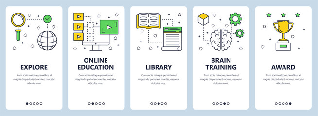 Vector modern thin line education concept web banner set
