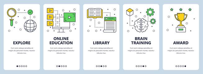 Vector modern thin line education concept web banner set