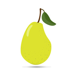 Big green pear on white background.