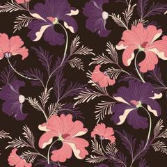 Seamless Pink Oriental Vector Pattern