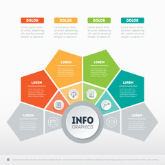 Vector infographic of technology or education process with 4 parts. Business presentation concept with 4 options. Web Template of a info graphics, chart, diagram on light background.