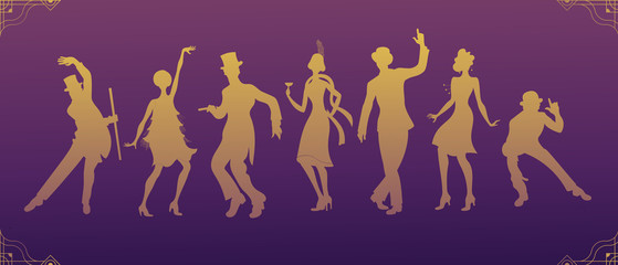 Charleston Party. Gatsby style set. Group of retro woman and man dancing charleston. Vintage style. retro silhouette dancer. 10 eps.1920 party vector background.Swing dance