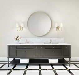 Classic luxury bathroom with marble floor and black furniture