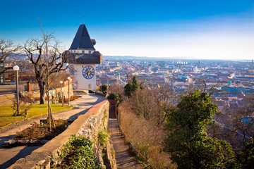Uhrturm landmark and Graz cityscape aerial view