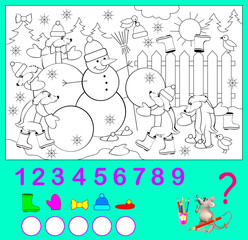 Logic exercise for children. How many objects you can find the in the picture? Color them and write the numbers. Vector image.